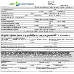 Patient Information Spanish - Patient Forms