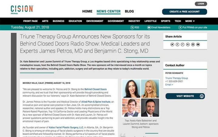triune therapy group announces new sponsors for its behind closed doors radio show medical leaders and experts james petros md and benjamin c stong md 719x450 - Media